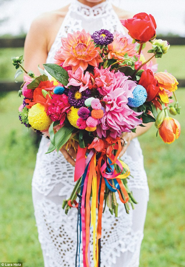 Rainbow weddings: Expect to see classic blushes and metallics making way for explosions of colour (image by Lara Hotz)