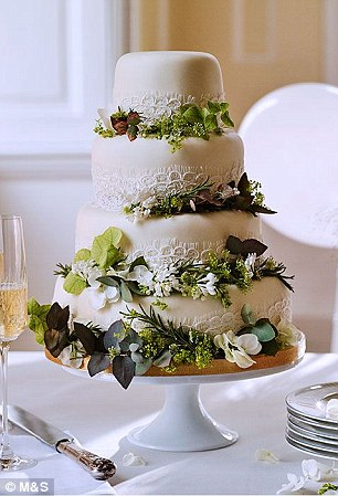 Five-tier Ivory Wedding Cake with Lace and Foliage