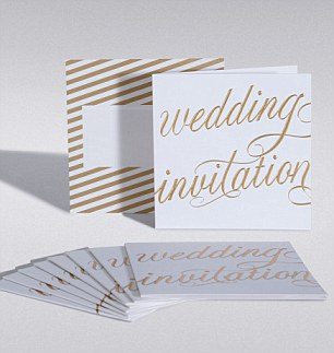 M&S has an elegant and classic range of wedding stationery such as these white and gold cards