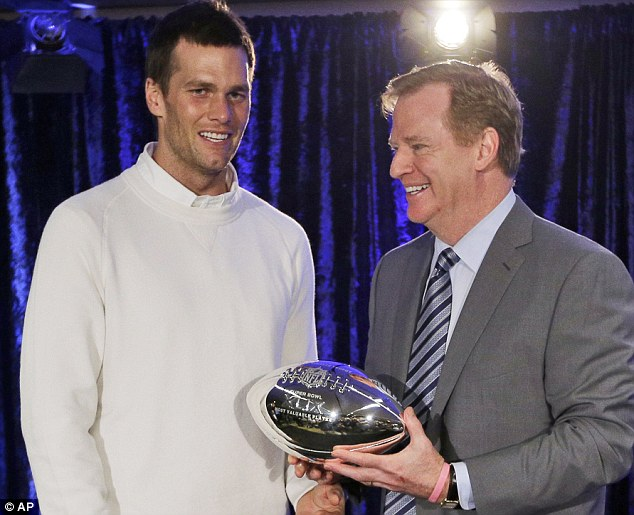 Reunited: Goddell said last week that it 'would be an honor' to hand the Super Bowl trophy to Brady (Goodell above in 2014 with Brady)