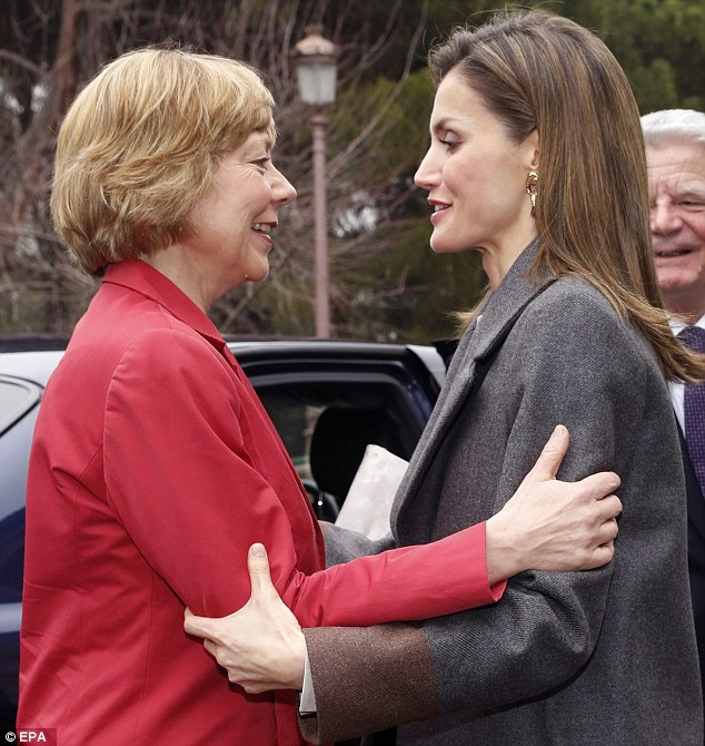 Warm welcome: Queen Letizia of Spain greets German First Lady Daniela Schadt in Madrid