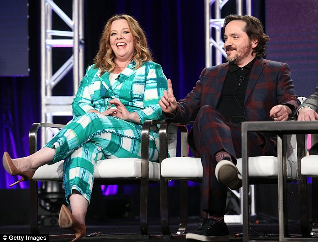 In the bag: Melissa McCarthy joiuned husband and frequent collaborator Ben Falcone on stage to talk about their upcoming comedy series Nobodies, which has already been renewed by TV land for a second season before the first has even premiered