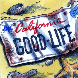 """cartoon of a California license plate """"Good Life"""" washed up on a beach"""