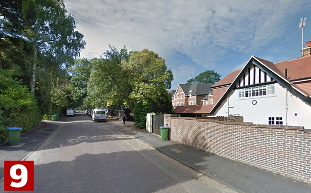 Cavendish Road, in Weybridge, fills ninth place, with average properties on the street costing £4,705,000