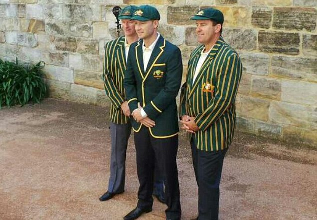 Return the Urn: Michael Clarke (centre), Steve Waugh (left) and Mark Taylor before today's squad unveiling