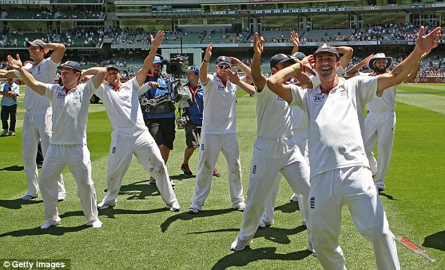 Rain on their parade: The Aussies will be hoping they have their own reasons to celebrate on English soil