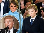 Staying put:First lady Melania Trump, 46, may not move into the White House while her husband is in office (Melania and son Barron at the inauguration last month above)