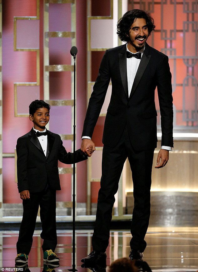 Dynamic duo: On Sunday, he made hearts melt during an appearance at the Golden Globe Awards another Lion co-star, Dev Patel