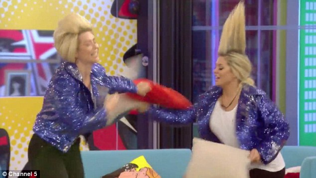 No cares: Later the girls begin to throw cereal all over the kitchen, to which Nicola said in another subtle hit: 'We're Jedward, we do whatever we want!'