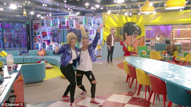 Big finish: They end their impersonation with a playful slide through the food strewn across the floor