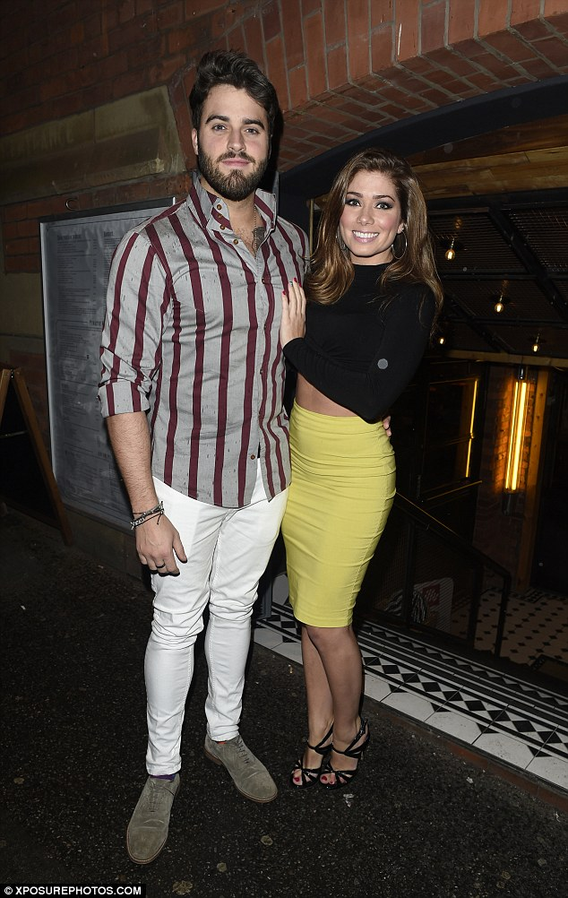 Cute couple:The stunning Hollyoaks actress cosied up to her beau Greg Whitehouse for his surprise birthday party at The Smoke House Bar and Restaurant in Manchester