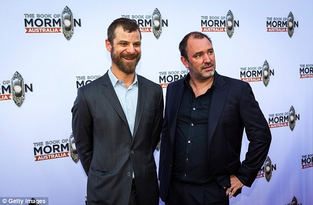 Creative minds:Sporting sleek suits and button-down shirts, the South Park creators each cut a dapper figure as they posed for snaps on the red carpet