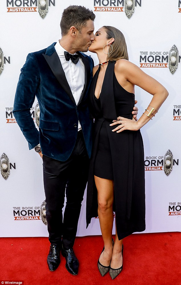 No split here! Georgia Love, 28, and Lee Elliott, 31, appear to be relishing in the joys of their honeymoon phase, as the lovebirds were seen packing on the PDA at The Book of Mormon premiere in Melbourne on Saturday