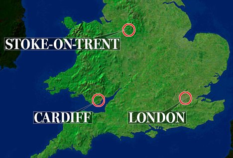 Arrests: Of the 12 men held, five were from Cardiff, four were from Stoke-on-Trent and three were from London