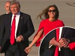 Donald Trump and his wife Melania had an awkward hand-hold Friday on the tarmac of thePalm Beach International Airport, after he arrived for a stay at his Mar-A-Lago resort