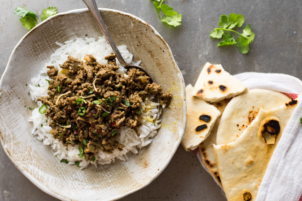 Qeema Indian Curried Beef - Authentic, FAST and no hunting down unusual spices. An interesting way to use ordinary ground beef!