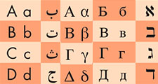 First five letters in the Latin, Hebrew, Arabic, Greek, and Russian Cyrillic alphabets.