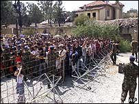 Greek Cypriots queue to cross into Turkish part of island