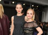 NEW YORK, NY - FEBRUARY 13:  Actresses Emmy Rossum (L) and Christina Ricci attend Carolina Herrera Collection at Skylight Clarkson Sq. during New York Fashion Week on February 13, 2017 in New York City.  (Photo by Ben Gabbe/Getty Images)