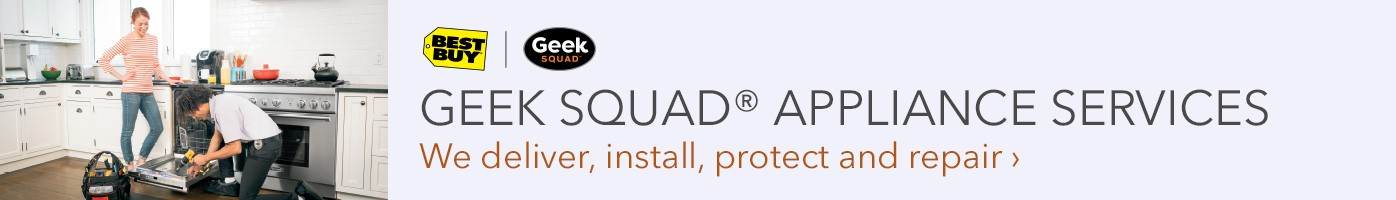 In Your Home. At Your Service. Learn how Geek Squad can help. Geek Squad agent installing dishwasher.