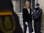FILE - In this Feb. 8, 2014 file photo, Spain's Princess Cristina arrives at the courthouse in Palma de Mallorca, Spain. A Spanish court  on Friday Feb. 17, 2017, found Princess Cristina not guilty in a tax fraud case in which her husband  Inaki Urdangarin , was sentenced Friday to 6 years and 3 months in prison for evading taxes, fraud and various other charges. (AP Photo/Manu Fernandez, File)