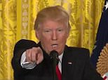 Donald Trump had another swipe at the BBC in a heated back-and-forth with the media during a White House press conference