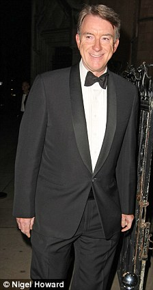 Lord Peter Mandleson. A party hosted by Sir Elton JoHn was held at the Royal Courts of Justice to celebrate the British Citizenship of Evgeny Lebedev.