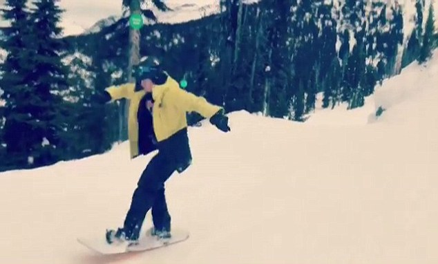 The video shows the oldest son of former England football captain David whizzing down the slopes in Whistler, Canada