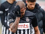 Everton Luiz left the field in tears yesterday after being racially abused by Rad Belgrade fans