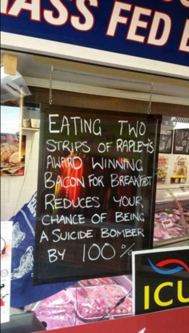 A photo posted on social media showed a sign up in the window of Jeff Rapley's butchery, Rapley's Midtown Quality Meats, in Narooma on the NSW South Coast