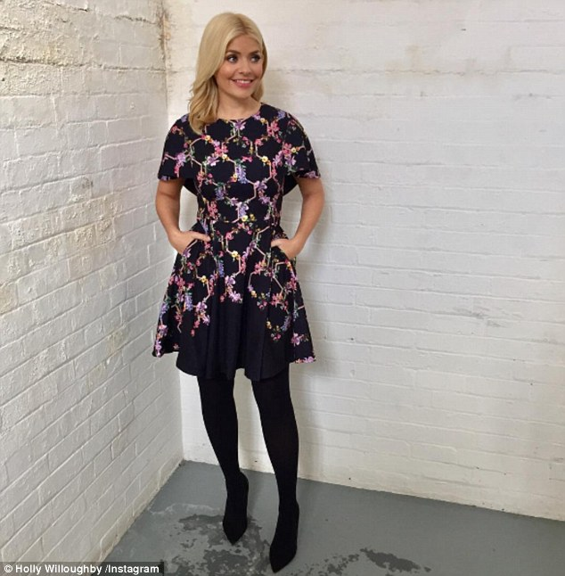 The morning after the night before: Holly Willoughby, 36, looked bright-eyed and fresh-faced following her night partying