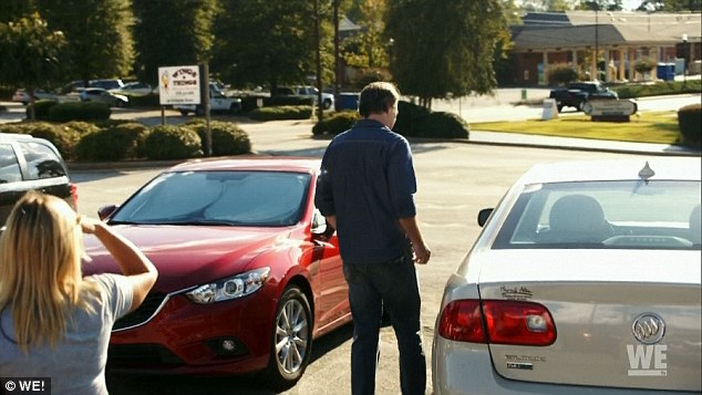 Getaway: Claiming he had to go to the bathroom, Jeff instead ran into the parking lot to his car