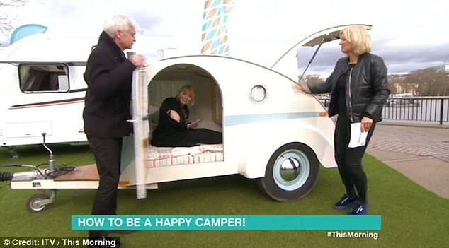 Unhappy camper: Holly was unhappy about getting stuck inside the camper