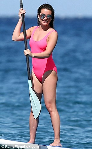 When you got it:The 30-year-old actress showed off a bit of cleavage in her pink one-piece swimsuit