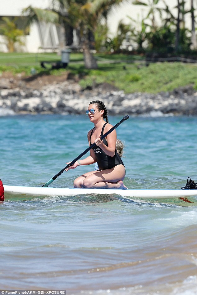 Surf's up: The Scream Queens actress cruised in the Pacific Ocean