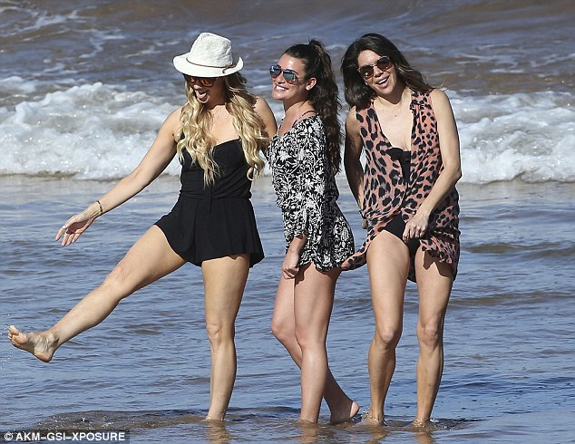 Tremendous trio: Lea and her hairstylist and make-up artist pals posed for snaps together