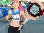 Jane Seo, 24, (pictured with her medal) was caught cheating after placing second at the Fort Lauderale A1A Half Marathon on Sunday