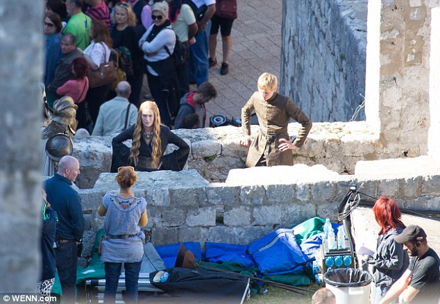 Bringing the fantasy to life: Lena andJack Gleeson, who played the much loathed King Joffrey, filming in theOld Town of Dubrovnik