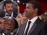 Quadruple threat: Actor, director and producer Denzel Washington saved the Oscar telecast on Sunday night during its chaotic final moments according to host Jimmy Kimmel (L to r: Washington, wife Paulette, Viola Davis andJulius Tennon after Moonlight's Best Picture win)
