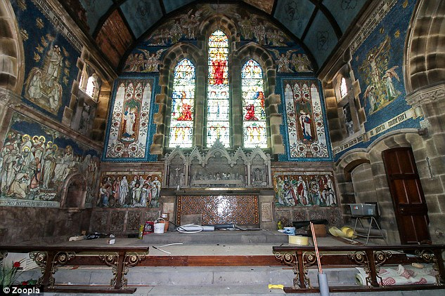 The former church in Todmorden, West Yorkshire, has beautiful original glass stained windows