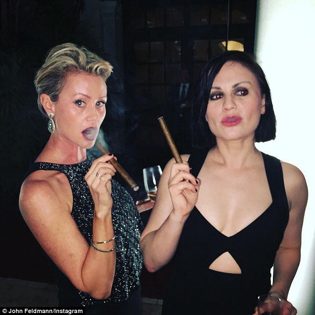 Candid: Anna, who also starred in True Blood, attended the wedding with her husband, Stephen; pictured with John's wife Saturday night