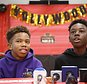 """Jaden Piner, left, 13, and Alex Hibbert, 12, speak about what it was like to be at the Academy Awards for their part in the film """"Moonlight,"""" during a news conference at Norland Middle School, Wednesday, March 1, 2017, in Miami Gardens, Fla.  The film garnered three Oscars Sunday night, including the award for best picture. (AP Photo/Wilfredo Lee)"""