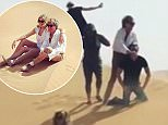 In trouble: Rod Stewart (top right) faces a storm today after he appeared to recreate an ISIS-style execution in the desert - as his wife Penny sits in front of him in the sand