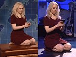 Kellyanne Conway, impersonated by Kate McKinnon, was spotted kneeling several times during Saturday Night Live as the show poked fun at the 'couchgate' photo controversy