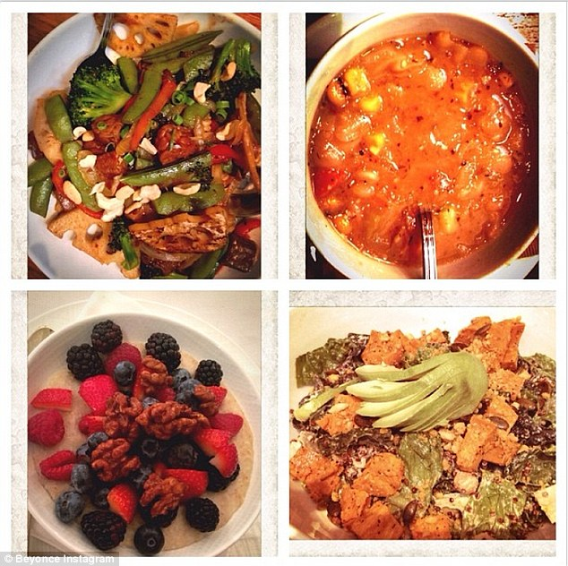 Gourmet vegan: On December 4, Beyonce posted this photo to her Instagram account, with the caption '#22dayveganchallenge'
