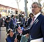 """Attorney Robert Blume speaks to reporters outside federal court in Santa Ana, Calif., after an Afghan family of five who had traveled to the United States on special visas were detained on arrival, but were ordered released from custody Monday, March 6, 2017. The mother, father and their three young sons, including a baby, arrived at Los Angeles International Airport on Thursday. """"The government swung and missed on this one, and they just got it wrong,"""" said Blume, one of the family's attorneys. (AP Photo/Nick Ut)"""