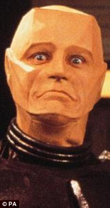 Spot the difference: It made Gaga, left, look like robot Kryten, from television sci-fi comedy Red Dwarf