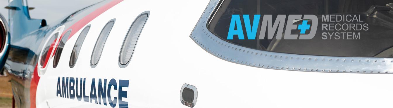 AVMED Medical Records System logotype on image of aero-ambulance