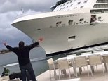 Cruising for a bruising: Bill Todhunter looks exasperated as his wife Yasmine films the cruise ship Equinox heading towards their Port Everglades, Florida home on Friday
