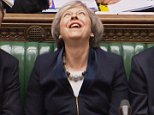The Prime Minister was seen throwing her head back and chuckling wildly 'like a supervillain' as Jeremy Corbyn challenged her in the Commons this afternoon